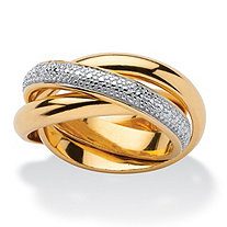 Diamond Accent 18k Yellow Gold Over Sterling Silver Rolling Ring