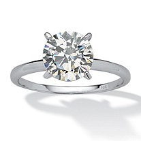 2 Carat Round Cubic Zirconia Solitaire Ring in 10k White Gold