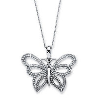 Diamond Accent 10k White Gold Butterfly Pendant and Rope Chain 18""