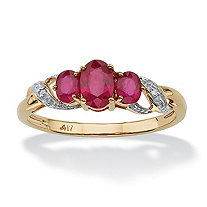 1 TCW Oval-Cut Ruby and Diamond Accented Three Stone Ring in 10k Gold