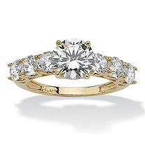 3.50 TCW Round Cubic Zirconia Ring in 10k Gold