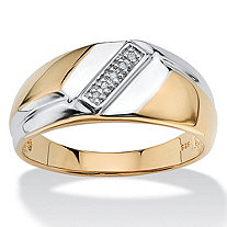 Men's Diamond Accent 18k Yellow Gold Over Sterling Silver Diagonal Ring