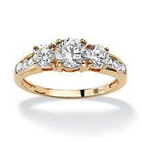 1.88 TCW Round Cubic Zirconia 10k Yellow Gold Engagement Anniversary Ring