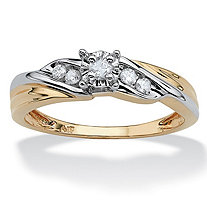 1/8 TCW Round Diamond 10k Yellow Gold Two-Tone Diagonal Engagement Anniversary Ring