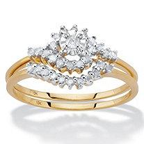 1/2 TCW Round Diamond 10k Yellow Gold Bridal Engagement Wedding Cluster Ring Set