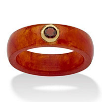 1/3 TCW Round Genuine Garnet and Genuine Red Jade 10k Yellow Gold Band Ring