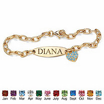 Simulated Birthstone 18k Gold over Sterling Silver Personalized Heart Charm Bracelet 7 1/2""