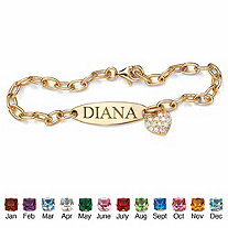 Simulated Birthstone 18k Gold over Sterling Silver Personalized Heart Charm Bracelet 7 1/2