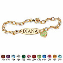 Simulated Birthstone 18k Yellow Gold over Sterling Silver Personalized Heart Charm Bracelet 7 1/2""