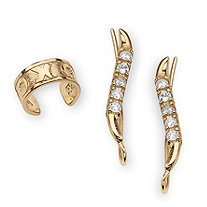 ".33 TCW Round Cubic Zirconia Ear Pins and ""X & O"" Ear Cuff in 18k Gold over Sterling Silver"