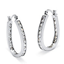2.52 TCW Round Cubic Zirconia Silvertone Inside-Out Channel-Set Hoop Earrings