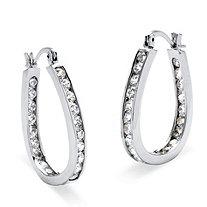 2.52 TCW Round Cubic Zirconia Silvertone Inside-Out Channel-Set Hoop Earrings
