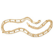 Triple-Strand Beaded Ankle Bracelet in 18k Gold over Sterling Silver 10""