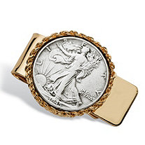 Men's Commemorative Genuine Half Dollar Money Clip in Yellow gold tone.