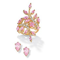 3.34 CT TW Pink DiamonUltra and trade; Cubic Zirconia Ring and 2 CT TW Stud Pierced Earring Set in 14k Gold-Plated