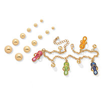 14k Gold-Plated Austrian Crystal Ankle Bracelet with FREE Six-Pairs Set of Stud Earrings