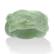 Genuine Green Jade Braided Eternity Band Ring