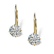 2.15 TCW Round Cubic Zirconia 10k Yellow Gold Lever-Back Drop Earrings