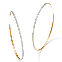 Diamond Accent 18k Yellow Gold Over Sterling Silver Hoop Earrings