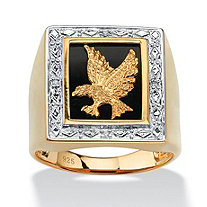Men's Diamond Accented Genuine Onyx Eagle Ring in 18k Gold over Sterling Silver