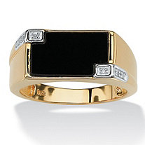 Men's Genuine Onyx Diamond Accent 18k Yellow Gold Over Sterling Silver Rectangular Ring