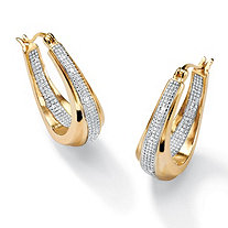 Diamond Accent 18k Gold over Sterling Silver Oval-Shaped Inside-Out Hoop Earrings