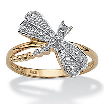 Diamond Accent 18k Yellow Gold Over Sterling Silver Dragonfly Ring