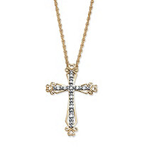 Diamond Accent 18k Gold over Sterling Silver Open-Work Cross Pendant and Rope Chain 18""