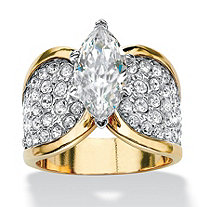 4.59 TCW Marquise-Cut Cubic Zirconia 14k Gold-Plated Engagement Anniversary Ring