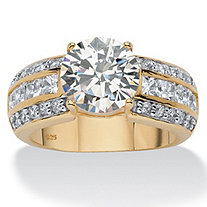 4.02 TCW Round Cubic Zirconia 18k Yellow Gold Over Sterling Silver Engagement Anniversary Ring