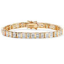 13.32 TCW Channel-Set Round and Baguette Cubic Zirconia 14k Yellow Gold-Plated Bracelet 7 1/2""