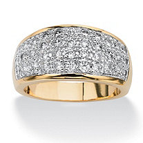 1.25 TCW Pave Cubic Zirconia in 14k Gold-Plated
