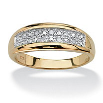 Men's 1/8 TCW Round Diamond 18k Yellow Gold Over Sterling Silver Pave Wedding Band