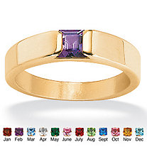 Princess-Cut Simulated Birthstone 18k Yellow Gold over Sterling Silver Ring