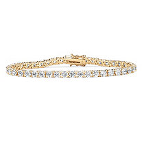 10.75 TCW Round Cubic Zirconia 18k Yellow Gold Over Sterling Silver Tennis Bracelet 7 1/2""