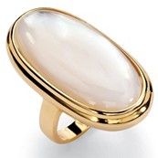 Oval-Shape Mother-Of-Pearl 18k Yellow Gold Over Sterling Silver Classic Cabochon Ring