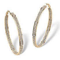 Crystal Inside-Out Hoop Earrings in Yellow Gold Tone 3""