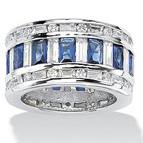 16.32 TCW Cubic Zirconia Blue Faceted Glass Accent Silvertone Eternity Band Ring