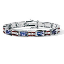 Red, White and Blue Crystal and Enamel Silvertone Patriotic Flag Bracelet 7 1/4""