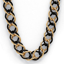 Yellow Gold Tone Black Rhodium-Plated Curb-Link Necklace 34""