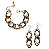 "Gold Tone Black Ruthenium-Finish 2-Piece Curb-Link Bracelet 8"" and Drop Earrings Set"