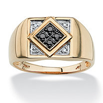 Men's .10 TCW Round Black and White Diamond Geometric Ring in 10k Gold