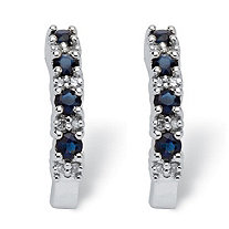 3/8 TCW Round Genuine Blue Sapphire and Diamond Accent 10k White Gold Semi-Hoop Earrings