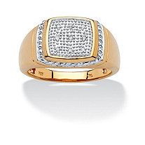Men's Round Pave Diamond Accent 18k Gold over Sterling Silver Ring