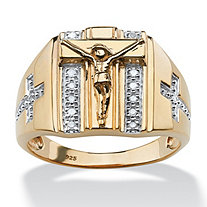 Men's 1/10 TCW Round Diamond Crucifix and Cross Ring in 18k Gold over Sterling Silver