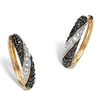 Black and White Diamond Accent 18k Gold over Sterling Silver Hoop Earrings
