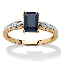 1.15 TCW Emerald-Cut Genuine Midnight Blue Sapphire 18k Gold over Sterling Silver Ring