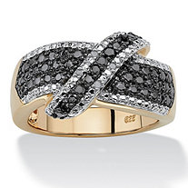 1/10 TCW Round Black and White Diamond 18k Yellow Gold over Sterling Silver Cross-Over Ring