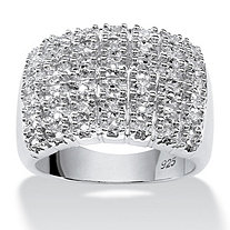 1/5 TCW Round Diamond Platinum over Sterling Silver Pave Cluster Ring