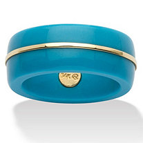 Round Viennese Turquoise 14k Yellow Gold Ring Band